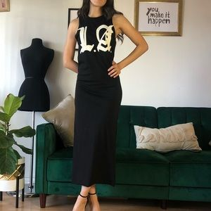 Black LA Maxi Dress Enlarged Armholes Side Slits
